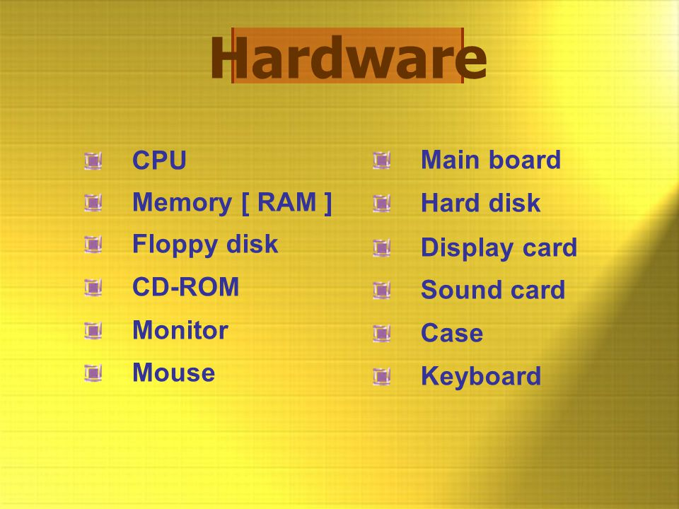Hardware CPU Main board Memory [ RAM ] Hard disk Floppy disk